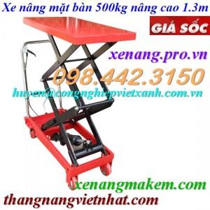 Xe nâng bàn 500kg nâng cao 1.3 mét WP500-1.3M