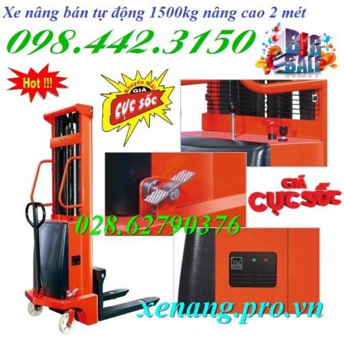 Xe nâng điện bán tự động 1,5 tấn cao 2 mét CTD1520
