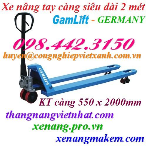Xe nâng tay siêu dài 2000mm GAMLIFT M20S-20