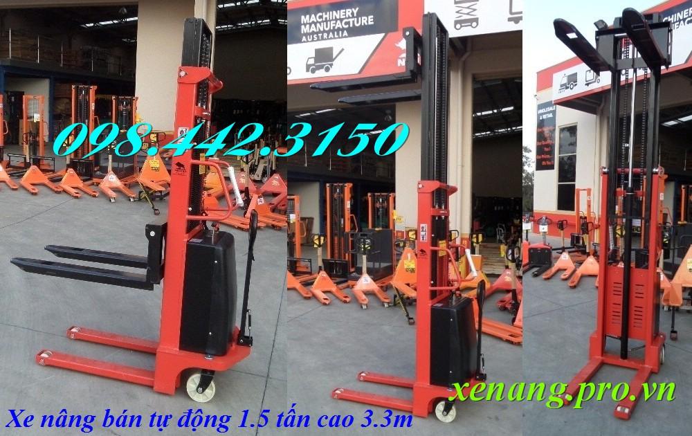Xe nâng bán tự động cao 3.3m tải trọng 1.5 tấn