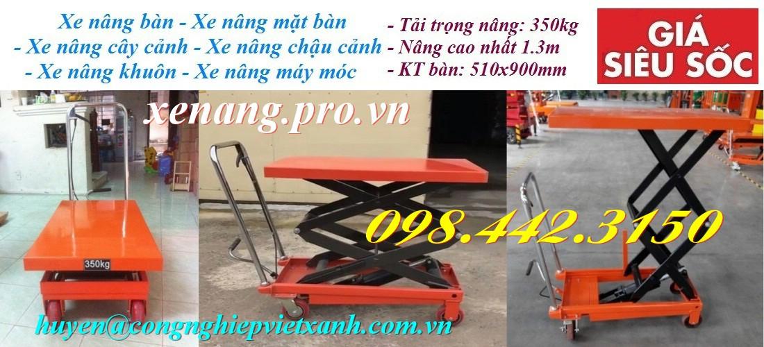 Xe nâng mặt bàn 350kg nâng cao 1.3m