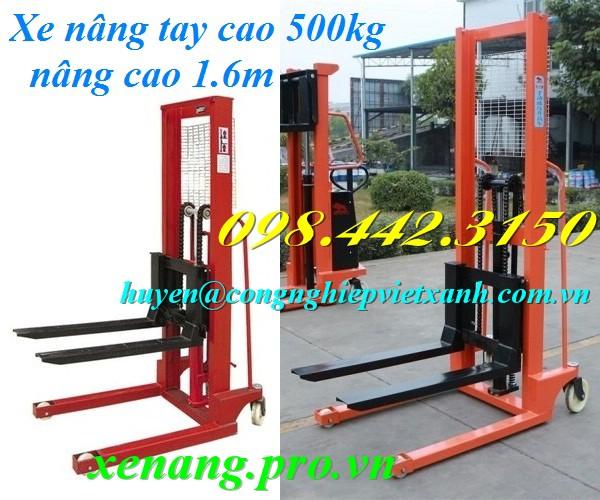 Xe nâng tay cao 500kg nâng cao 1.6m
