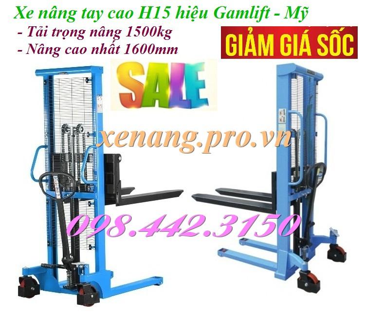 Xe nâng tay cao 1.5 tấn nâng cao 1.6m Gamlift